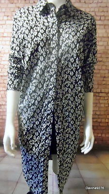 "duster shirt black white stretch quality cotton 62"" bust"