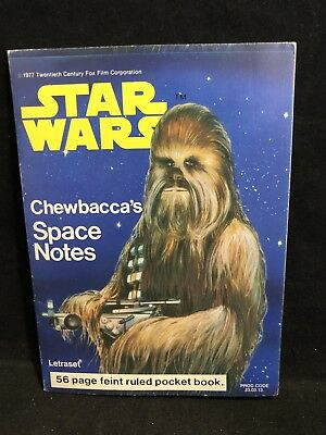 VG Vintage 1977 LETRASET STAR WARS CHEWBACCAs SPACE NOTES Unused Stationary Book