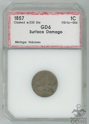 1857 Clashed w/$20 Die Flying Eagle Cent 1C GD6 Surface Damage