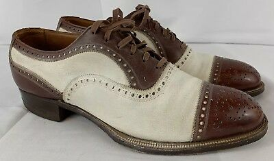 VINTAGE 40's BROWN WHITE TWO TONE CAP TOE WINGTIP GANGSTER DRESS OXFORD SHOES