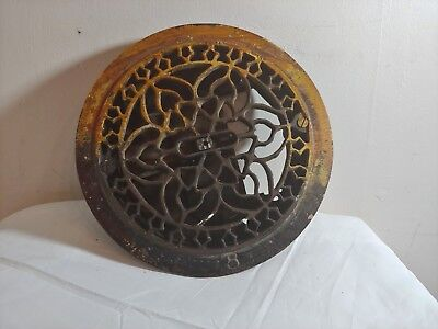 Round Cast Iron Floor ceiling wall Register Heat Grate Vent Antique 8 inches