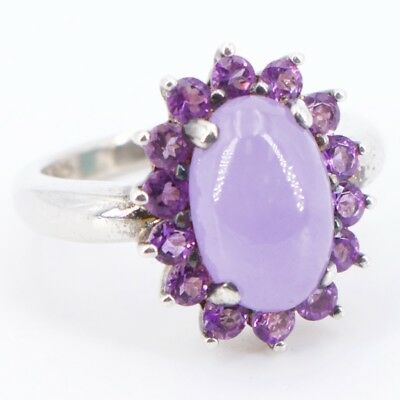 Sterling Silver - Purple Jade Amethyst Cocktail Ring Size 6 - 4g