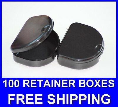 100 Black Denture Retainer Box Orthodontic Dental Case Mouth Tray Brace Ortho