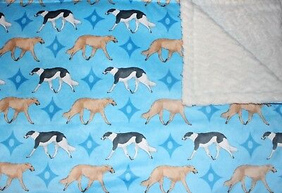Borzoi Russian Wolfhound blanket throw. Gorgeous! Minky and silver fabric.