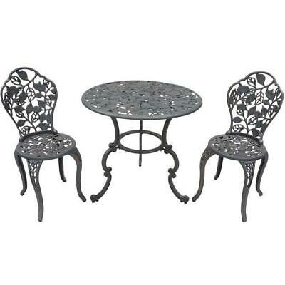 Cast Iron Outdoor Table & Chairs Garden Setting - Leaves