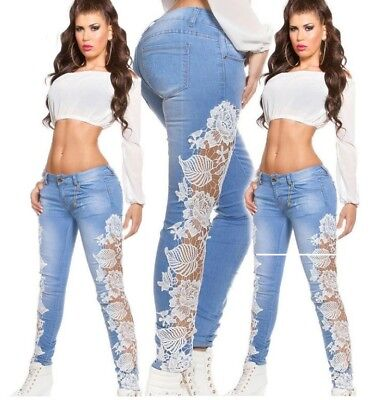 Fashion Women Crochet Lace Hollowed-out Jeans Denim Trousers Skinny Pants New