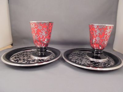 2 Vintage Rockwell Sterling Silver Overlay Czech Glass Snack Sets Red Black 4 Pc