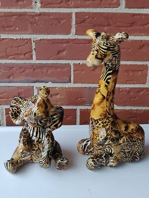 Lot of 2 La Vie Safari Collection Figurine Patchwork Giraffe Elephant Endangered