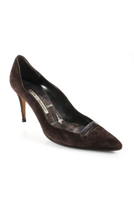 767ee10e1e59 Manolo Blahnik Womens Pointed Toe High Heel Pumps Brown Suede Leather Size  39 9