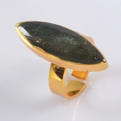 Size 6.5 Natural Labradorite Adjustable Ring Gold Plated B076216
