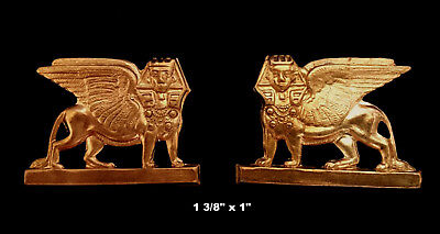 Vintage Brass Stamping / Winged Sphinx  /Mirror Image /Egyptian Revival  2 Pcs.