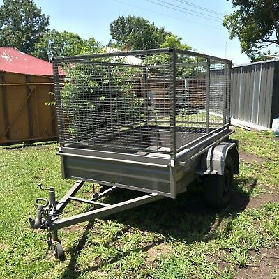 6x4 BOX TRAILER REMOVABLE 900mm CAGE REGISTERED MARCH 2019 GOOD CONDITION