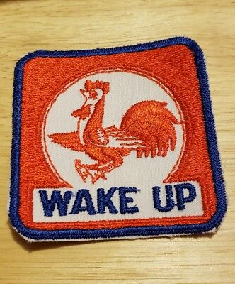 Vtg Chicken WAKE UP patch GAS STATION Indianapolis Indiana oil service 2.5 in