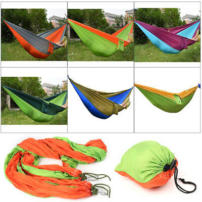 Portable Double Person Travel Camping Nylon Fabric Parachute Hammock Outdoor Bed