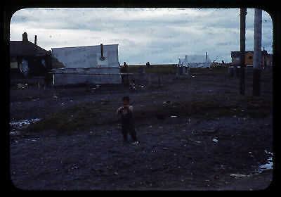 (094) Vintage 1950s 35mm Slide Photo - BARROW AK - Eskimo Camp, Cape Smythe
