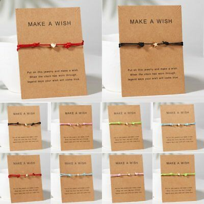 Women Handmade Heart Star Rope Bracelet Bangle Friendship Card Jewelry Gifts NEW