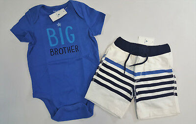 NWT Boys Baby Gap 18-24 Months Big Brother Bodysuit Top & White Striped Shorts