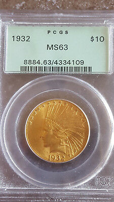 1932 $10 ten dollar Indian gold coins PCGS 63 OGH Old Green Holder high end