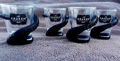 Kraken Rum Octopus Tentacle Wrapped Shot Glasses Set of FOUR NEW!