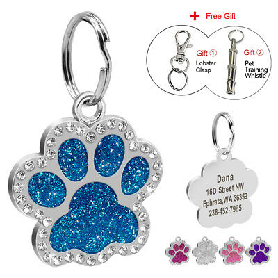 Personalized Dog Tags Engraved Puppy ID Collar Tag Bling Paw Glitter & Whistle