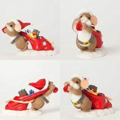 Charming Tails Christmas Figurine, Mouse Pulling a Bag of Toys, New, 4041189