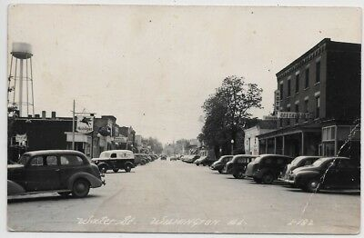 Wilmington,Illinois-Water Street-c1930s LL Cook Real Photo-Mobilgas jh33