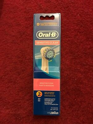 Braun Oral-B SENSITIVE CLEAN Electric Toothbrush Replacement Brush Heads 2 Pack