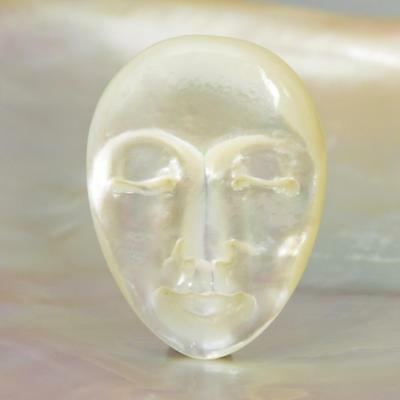 Lustrous Mother-of-Pearl Shell Face Cameo-style Carving Cabochon 4.95 g