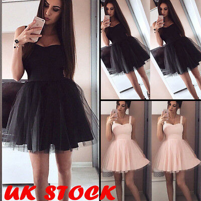 Womens Lace Swing Skater Dress Short Sleeve Evening Party Beach Mini Sundress UK