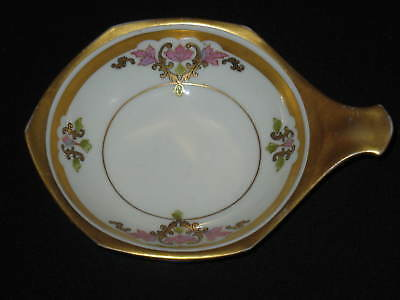 Antique Porcelain Hp Pickard Mark #7 Nappy Russian Flowers Ca 1915