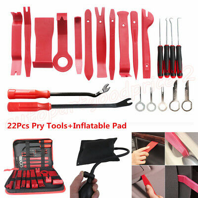22pc Car Panel Dash Audio Radio Upholstery Trim Removal Pry Tools+Inflatable Pad