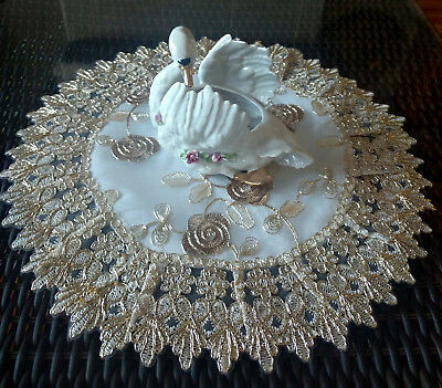 Doily 16 Inch Metallic Gold Rose Lace Victorian Flower Valentine's Day