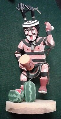 """Vintage Hopi Kachina Watermelon Drum 6"""" Signed Painted Face Native American"""