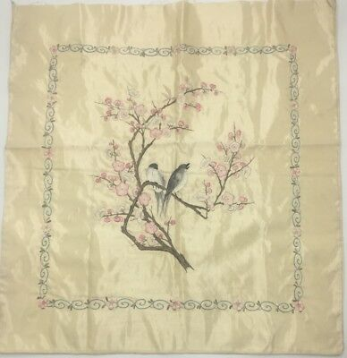 Vintage Asian Silk Embroidery Panel Birds Cherry Blossoms Satin Lined Japan