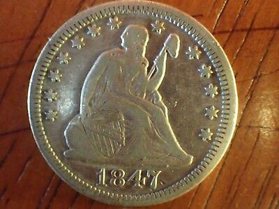 1847 SEATED LIBERTY Quarter with great detail