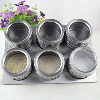 6pcs Container Stainless Steel Spice Bottles Spice Jars Condiment Salt Magnetic