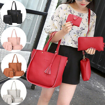 4pcs Women Leather Shoulder Bags Handbag Tote Purse Messenger Satchel Set Gift