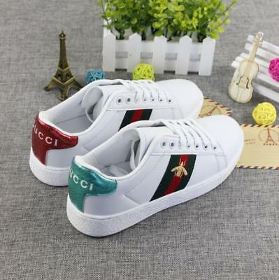 Womens Luxury Lace Up Embroidery Bee Flat Heels Running White Trainers Shoes HOT