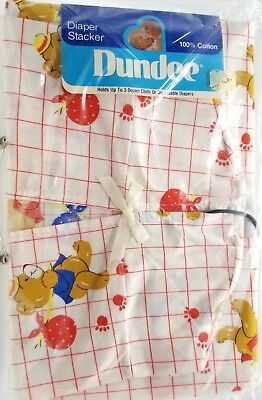 Teddy Bear Diaper Stacker Baby Boy Girl Cotton Dundee New Vintage