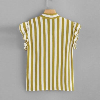 Women Vertical Striped Print Bow Tie Neck Stand Collar Chiffon Fabric Blouse