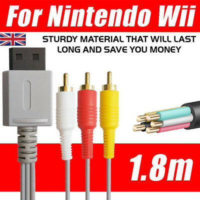 3RCA Audio Video Composite Wire Cable TV Lead For Nintendo Wii Gold Plated