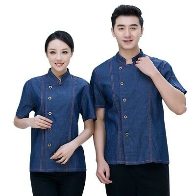 Newly Chef Coat Denim Short Sleeves Jacket Summer Cooking Uniform Workwear 1PC