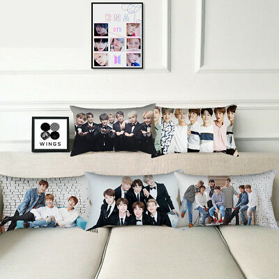 BTS Korean Fashion Pop Boys Peach Skin Pillow Case Home Deco Sofa Cushion Cover