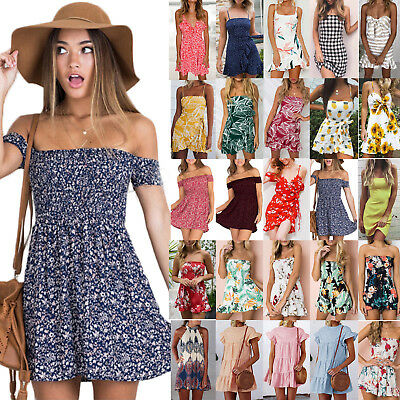 Women Girls Summer Floral Short Mini Dress Holiday Beach Casual Sundress AU 6-16