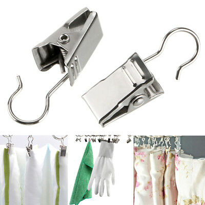 10PCS Stainless Steel Alligator Curtain Drapery Hook Small Clips Clamps Hanger