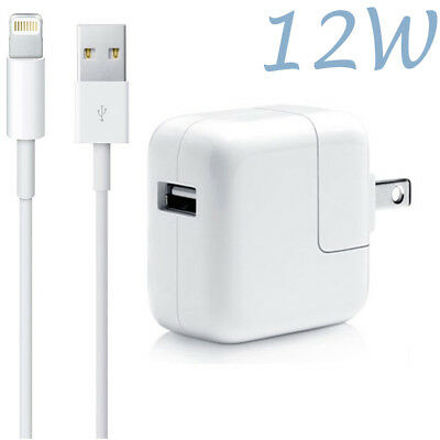 12W USB Power Adapter Wall Charger for Apple iPad 2 3 4 Air & Lightning Cable