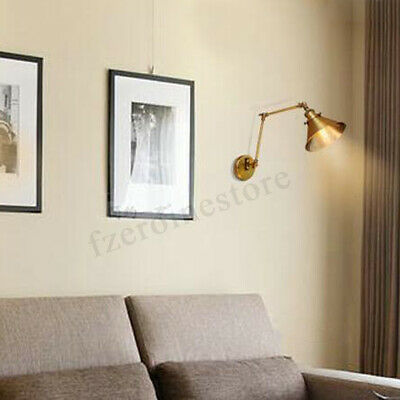 Industrial Brass Retro Vintage Double Adjustable Long Swing Arm Wall Light Lamp