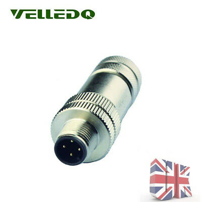 IP67 M12 4PIN Male Sensor Cable Connector Adapter Copper w/ Shield Connector UK