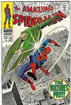 """Dated 1968. """"The AMAZING SPIDER-MAN"""" Marvel comic Vol.1 #64. VG+"""
