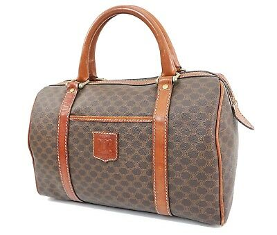 Auth VTG CELINE Brown Canvas and Leather Boston Hand Bag Purse #31652